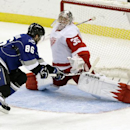 Detroit Red Wings goalie Jimmy Howard (35) makes save on a shot by Tampa Bay Lightning right wing Nikita Kucherov (86) during the third period of an NHL hockey game Saturday, Feb. 8, 2014, in Tampa, Fla The Associated Press