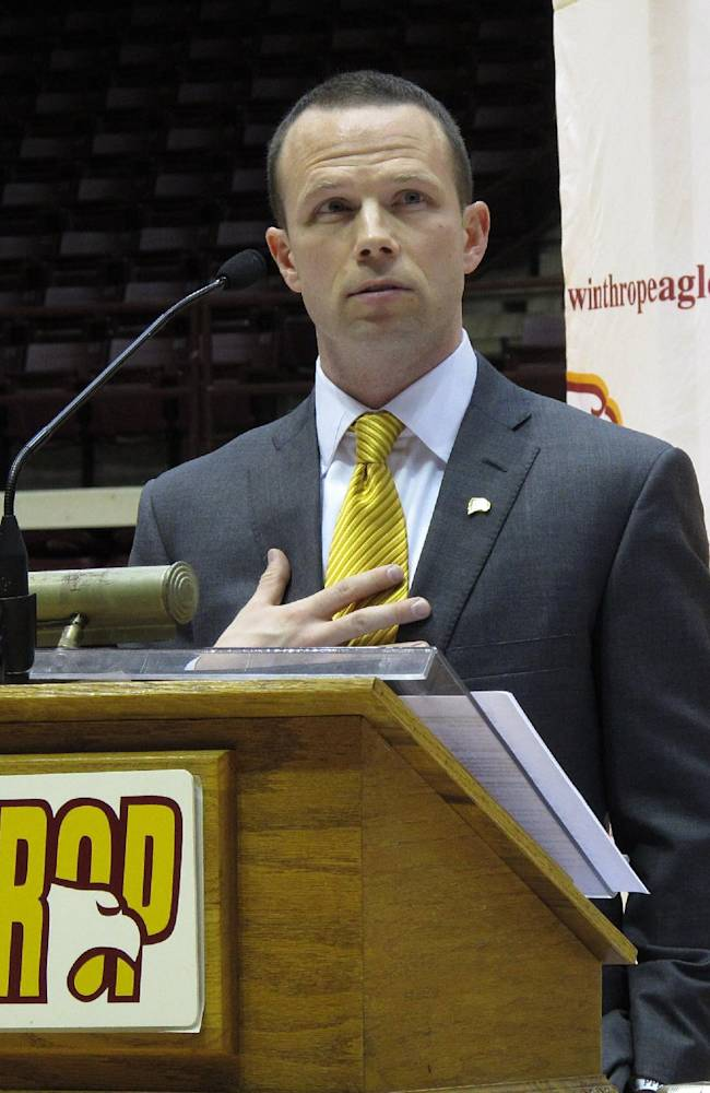 In this April 5, 2012 file photo, Pat Kelsey speaks to fans as he is introduced as the new Winthrop men's basketball coach during a news conference at the Winthrop Coliseum in Rock Hill, S.C. A short time after her 7-year-old son, Chase, died in the Newtown, Conn., shootings at Sandy Hook Elementary, Becky Kowalski watched video of Winthrop basketball coach Pat Kelsey's heartfelt words about the tragedy.