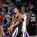 LAS VEGAS, NV - OCTOBER 24: Ray McCallum #3 of the Sacramento Kings and Darren Collison #7 of the Sacramento Kings celebrate during a game against the Los Angeles Lakers on October 24, 2014 at the MGM Grand Garden Arena in Las Vegas, Nevada. (Photo by Andrew D. Bernstein/NBAE via Getty Images)