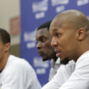 INDIANAPOLIS, IN - MAY 18:  David West #21 of the Indiana Pacers and teammates speak during a press conference after winning during Game Six of the Eastern Conference Semifinals between the New York Knicks and the Indiana Pacers during the 2013 NBA Playoffs on May 18, 2013 at Bankers Life Fieldhouse in Indianapolis, Indiana.  (Photo by Ron Hoskins/NBAE via Getty Images)