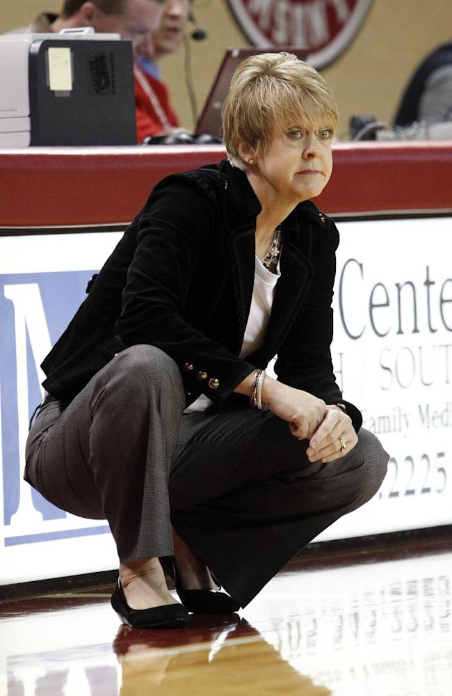 Alabama coach Kristy Curry reacts to a call by an official during the first half of an NCAA college basketball game against Kentucky on Thursday, Jan. 2, 2014, in Tuscaloosa, Ala. Kentucky won 85-63