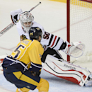 Nashville Predators forward Viktor Stalberg (25), of Sweden, scores a goal past Chicago Blackhawks goalie Corey Crawford in the third period of an NHL hockey game Saturday, Nov. 16, 2013, in Nashville, Tenn. The Predators won 7-2 The Associated Press