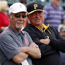 Former Detroit Tigers manager Jim Leyland, left, visits with Pittsburgh Pirates manager Clint Hurdle before an exhibition spring training baseball game between the Tigers and the Pirates in Lakeland, Fla., Tuesday, March 4, 2014 The Associated Press