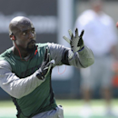 New York Jets wide receiver Santonio Holmes works out before an NFL football game against the Tampa Bay Buccaneers, Sunday, Sept. 8, 2013, in East Rutherford, N.J The Associated Press