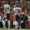 Atlanta Falcons wide receiver Julio Jones (11) hangs his head after missing the ball against the Chicago Bears during the first half of an NFL football game, Sunday, Oct. 12, 2014, in Atlanta The Associated Press