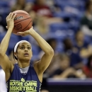 Notre Dame guard Skylar Diggins shoots during practice at the Women's Final Four of the NCAA college basketball tournament, Saturday, April 6, 2013, in New Orleans. Notre Dame plays Connecticut in a national semifinal on Sunday. (AP Photo/Gerald Herbert)