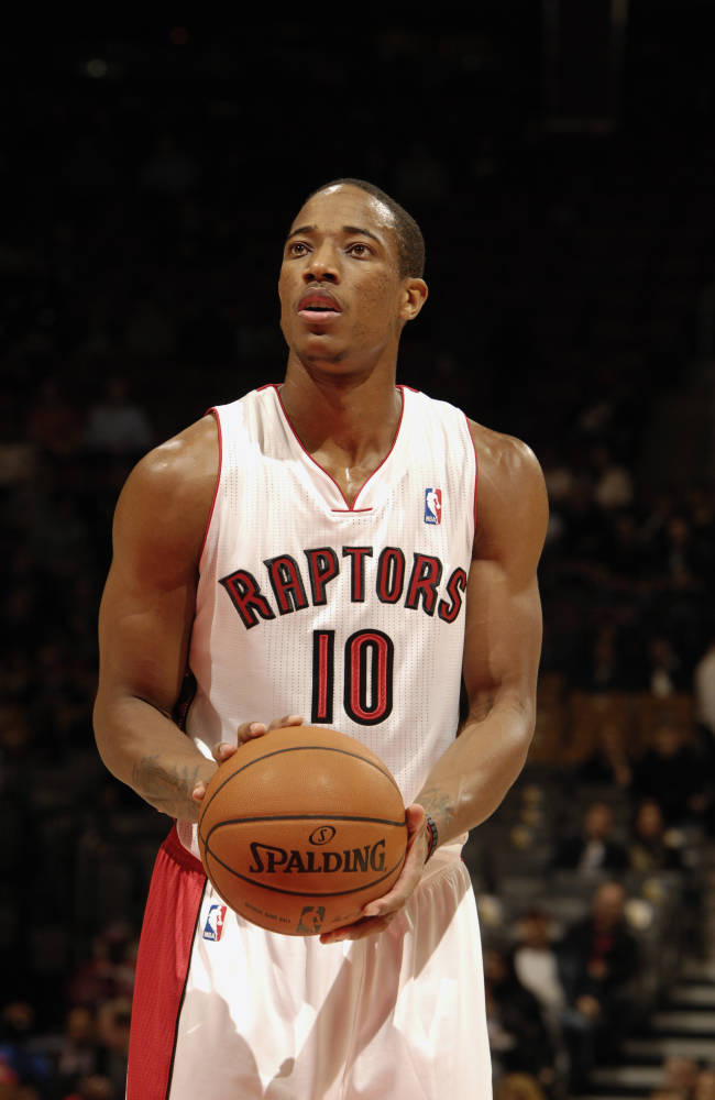 TORONTO, CANADA - OCTOBER 12: DeMar DeRozan #10 of the Toronto Raptors takes a free throw against the Detroit Pistons on October 12, 2012 at the Air Canada Centre in Toronto, Ontario, Canada. NOTE TO USER: User expressly acknowledges and agrees that, by downloading and or using this Photograph, user is consenting to the terms and conditions of the Getty Images License Agreement. Mandatory Copyright Notice: Copyright 2012 NBAE (Photo by Ron Turenne/NBAE via Getty Images)