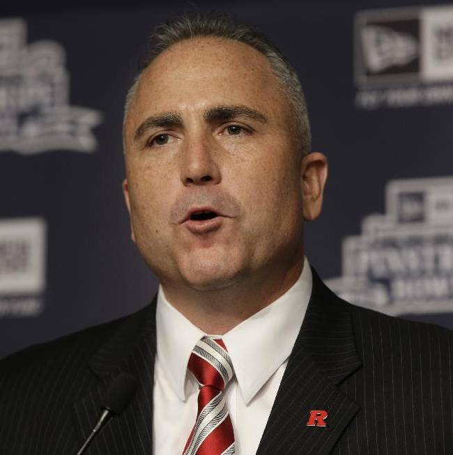 Rutgers coach Kyle Flood speaks during an NCAA college football news conference in New York, Tuesday, Dec. 10, 2013. Rutgers and Notre Dame will face off at the Pinstripe Bowl at Yankee Stadium on Saturday, Dec. 28, 2013