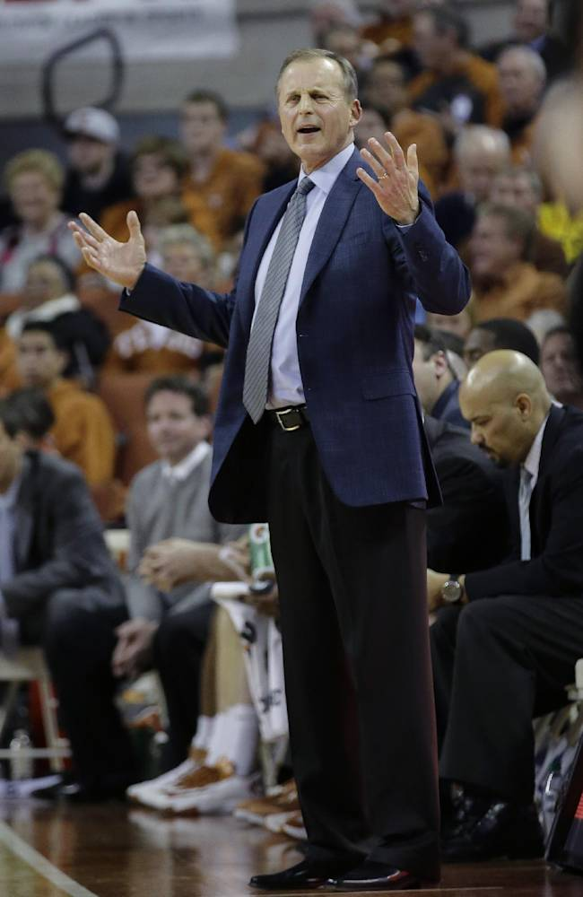 Texas coach Rick Barnes gestures during the second half on an NCAA college basketball game against Oklahoma State, Tuesday,  Feb. 11, 2014, in Austin, Texas. Texas won 87-68