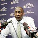 Tyrone Corbin head coach of the Utah Jazz speaks with the media against the Los Angeles Lakers at EnergySolutions Arena on April 14, 2014 in Salt Lake City, Utah. (Photo by Melissa Majchrzak/NBAE via Getty Images)