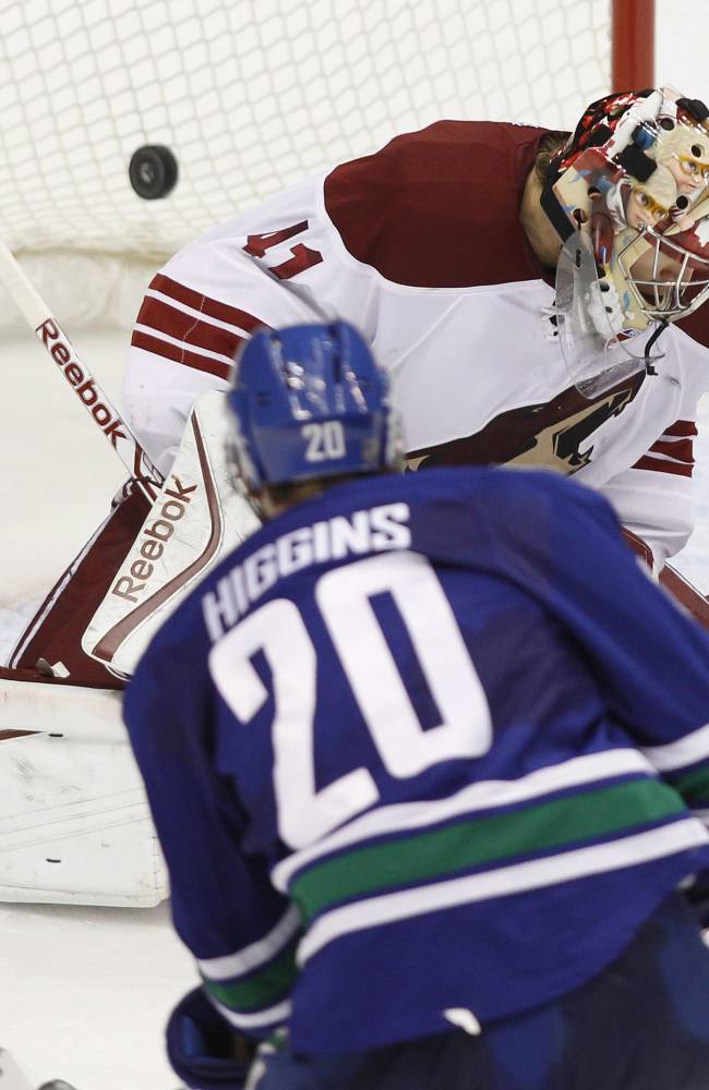 Canucks edge Coyotes 3-2 in OT on Higgins' goal