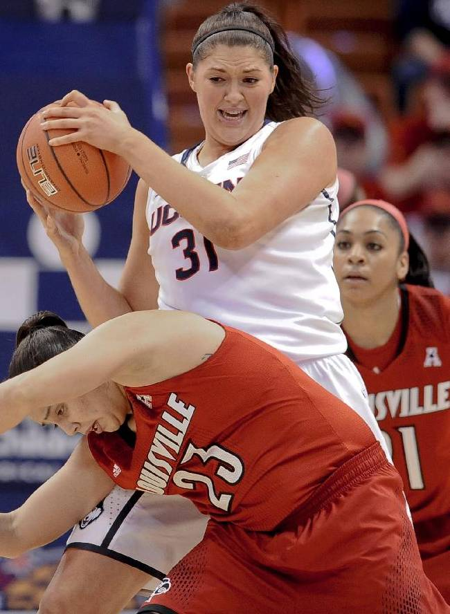 Connecticut's Stefanie Dolson, top, keeps the ball from Louisville's Shoni Schimmel, bottom, during the first half of an NCAA women's college basketball game in the finals of the American Athletic Conference basketball tournament, Monday, March 10, 2014, in Uncasville, Conn