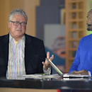 MLB Network analyst Harold Reynolds, right, listens as Pittsburgh Pirates manager Clint Hurdle answers a question during a televised interview at the baseball's winter meetings in Lake Buena Vista, Fla., Tuesday, Dec. 10, 2013 The Associated Press