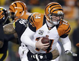 Cincinnati Bengals quarterback Andy Dalton (14) is sacked by Pittsburgh Steelers defensive end Ziggy Hood (96) in the first quarter of an NFL football game in Pittsburgh, Sunday, Dec. 15, 2013. (AP Photo/Gene J. Puskar)