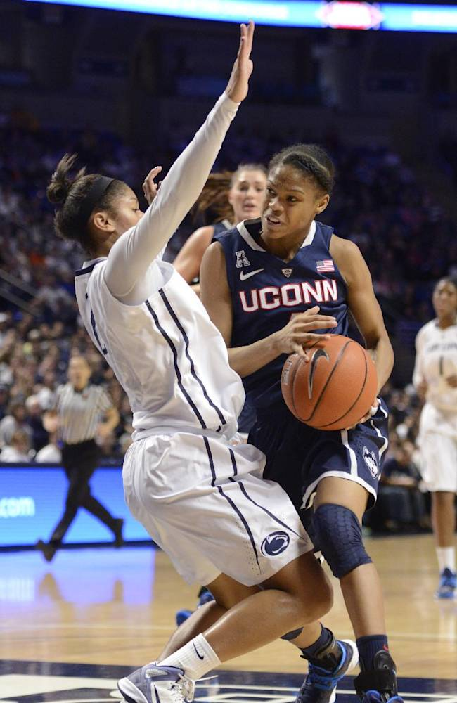 Connecticut's Moriah Jefferson, right, knocks over Penn State's Dara Taylor in the first half of an NCAA college basketball game Sunday, Nov. 17, 2013, in State College, Pa