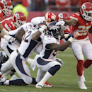 Kansas City Chiefs running back Jamaal Charles (25) runs against Denver Broncos defense during the first half of an NFL football game, Sunday, Dec. 1, 2013, in Kansas City, Mo The Associated Press