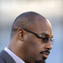 Former Philadelphia Eagles quarterback Donovan McNabb pauses during an interview before an NFL football game between the Philadelphia Eagles and the Kansas City Chiefs, Thursday, Sept. 19, 2013, in Philadelphia. McNabb is scheduled to have his jersey retired at halftime (AP Photo/Michael Perez)