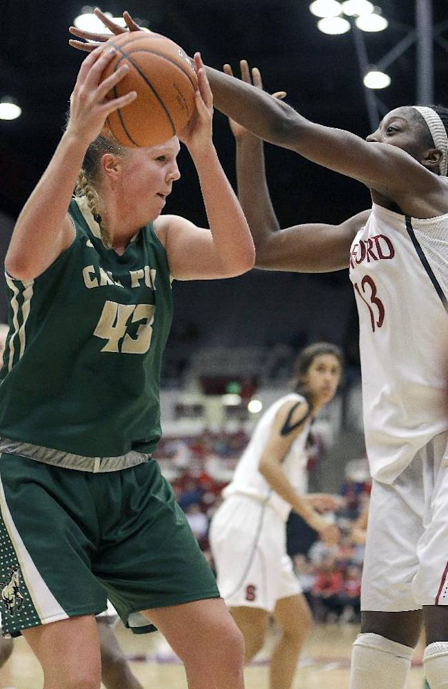 Cal Poly's Molly Schlemer (43) battles for a rebound against Stanford's Chiney Ogwumike (13) during the second half of an NCAA college basketball game in Stanford, Calif., Friday, Nov. 15, 2013. Stanford won 86-51