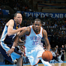 OKLAHOMA CITY, OK - FEBRUARY 28: Kevin Durant #35 of the Oklahoma City Thunder handles the ball during a game against the Memphis Grizzlies on February 28, 2014 at the Chesapeake Energy Arena in Oklahoma City, Oklahoma. (Photo by Layne Murdoch/NBAE via Getty Images)
