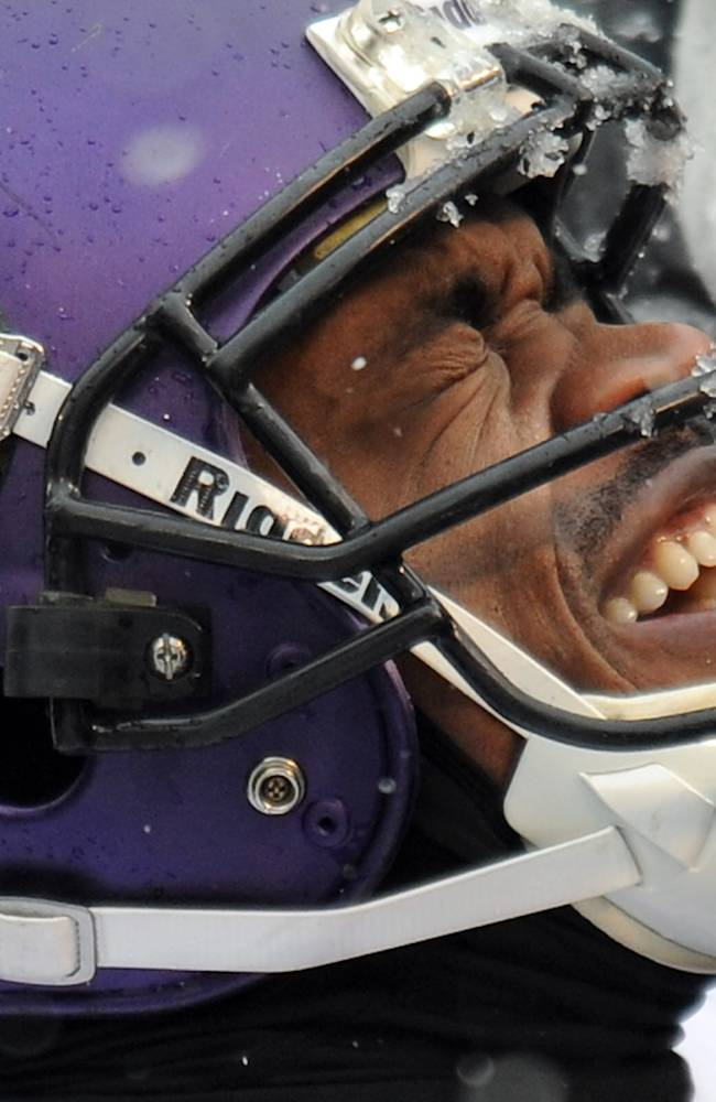 Minnesota Vikings running back Adrian Peterson reacts as he is tended to after injuring his ankle on a play in the second quarter of an NFL football game against the Baltimore Ravens, Sunday, Dec. 8, 2013, in Baltimore