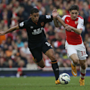 Arsenal's Hector Bellerin, right, holds off the challenge of Hull City's Hatem Ben Arfa during the English Premier League soccer match between Arsenal and Hull City at the Emirates stadium in London Saturday, Oct.18, 2014
