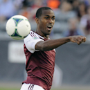Colorado Rapids midfielder Atiba Harris misses a header in the first half of an MLS soccer game against Chivas USA in Commerce City, Colo., on Saturday, May, 25 2013. (AP Photo/Chris Schneider)