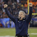 FILe - In this Feb. 2, 2014 file photo, Seattle Seahawks head coach Pete Carroll reacts as Percy Harvin returns a kickoff for a touchdown during the second half of the NFL Super Bowl XLVIII football game against the Denver Broncos in East Rutherford, N.J.