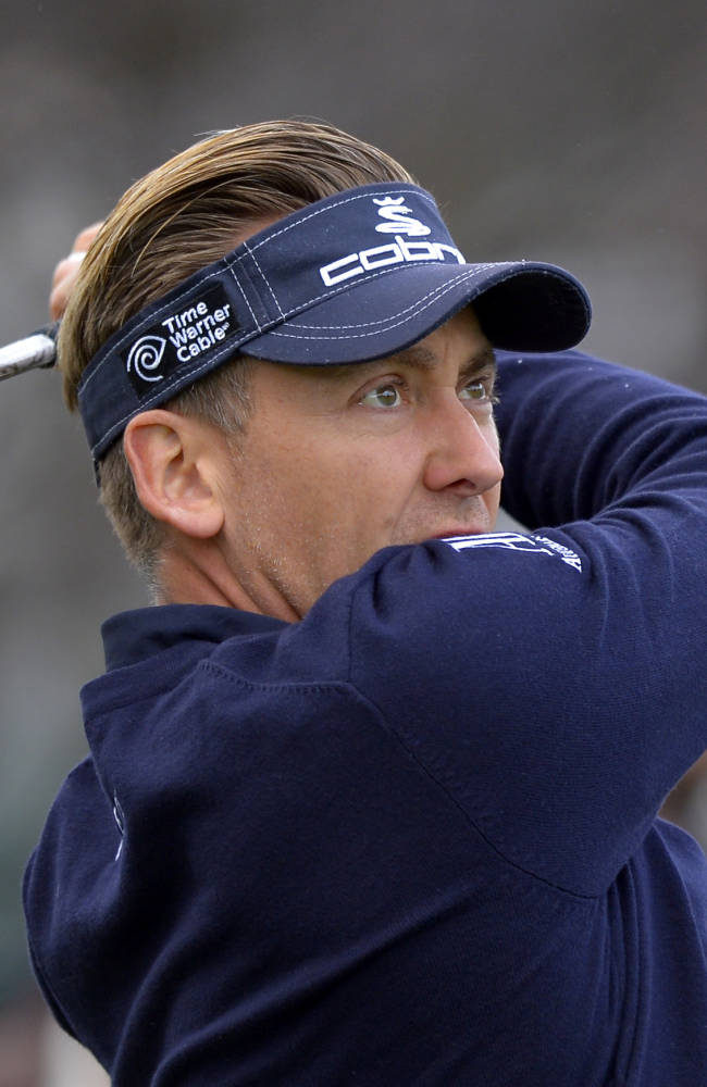 Ian Poulter, of England, tees off on the first hole during the second round of the Northwestern Mutual World Challenge golf tournament at Sherwood Country Club, Friday, Dec. 6, 2013, in Thousand Oaks, Calif