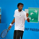 French player Gael Monfils reacts during his final match against Spanish player Albert Montanes at the Nice Cote d'Azur open tournament, in Nice, Southern France, Saturday May 25, 2013.(AP Photo/Christian Alminana)