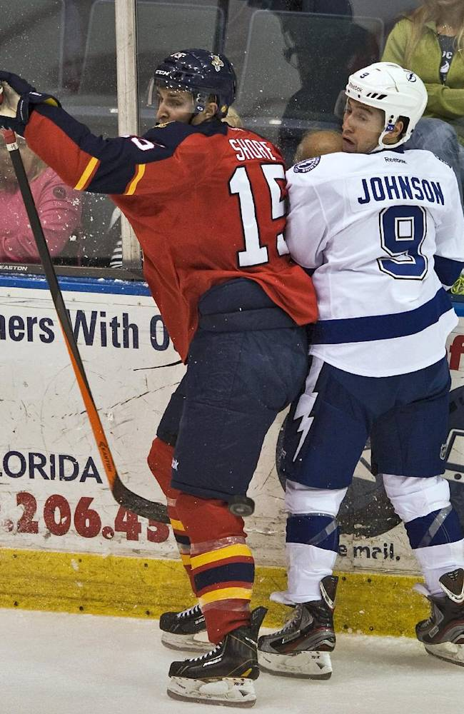 Florida Panthers' Drew Shore (15) and Tampa Bay Lightning's Tyler Johnson (9) look for the puck during the first period of an NHL preseason hockey game Thursday, Sept. 26, 2013, in Estero, Fla