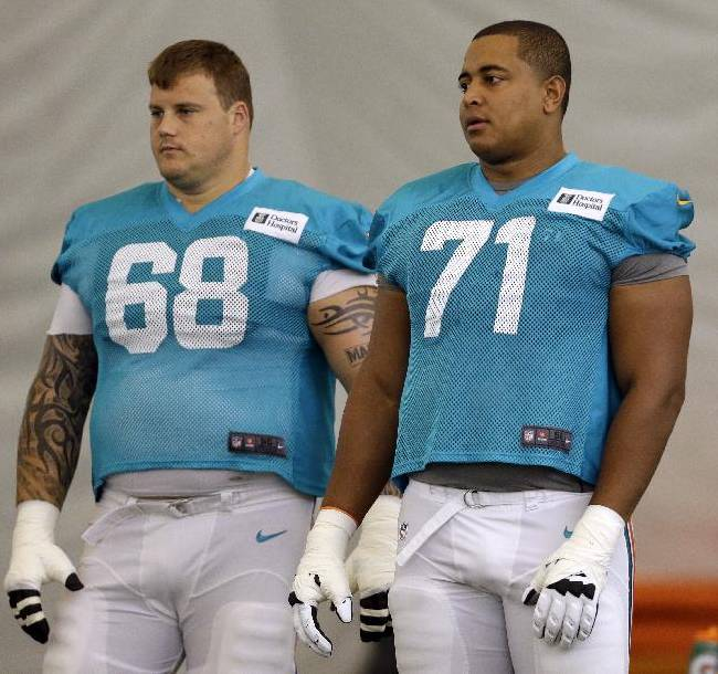 Miami Dolphins guard Richie Incognito (68) and tackle Jonathan Martin (71) stand on the field during an NFL football practice, Wednesday, July 24, 2013, in Davie, Fla