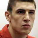 Maryland center Alex Len, of Ukraine, speaks during a news conference in College Park, Md., Tuesday, April 16, 2013, to announce that he will enter the NBA draft. (AP Photo/Patrick Semansky)