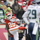 Kansas City Chiefs running back Jamaal Charles (25) celebrates his touchdown against the Seattle Seahawks in the first half of an NFL football game in Kansas City, Mo., Sunday, Nov. 16, 2014 The Associated Press