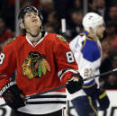 Chicago Blackhawks' Patrick Kane looks up after missing a shot against the St. Louis Blues during the first period in Game 4 of a first-round NHL hockey playoff series in Chicago, Wednesday, April 23, 2014. (AP Photo/Nam Y. Huh)