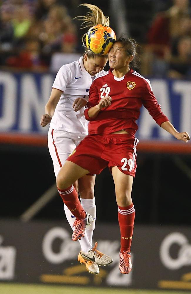 China forward Yang Li and U.S. midfielder Morgan Brian vie for a head ball during the first half of an international friendly soccer match Thursday, April 10, 2014, in San Diego