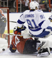Tampa Bay Lightning center Steven Stamkos (91) collides with Florida Panthers goalie Tim Thomas (34) after scoring a goal in the first period during a preseason NHL hockey game, Saturday, Sept. 28, 2013, in Sunrise, Fla. (AP Photo/Lynne Sladky)
