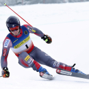 Tim Jitloff, of Reno, Nev., skis to victory in the men's giant slalom ski race at the U.S. Alpine Championships, Friday, March 27, 2015, at Sugarloaf Mountain Resort in Carrabassett Valley, Maine. (AP Photo/Robert F. Bukaty)