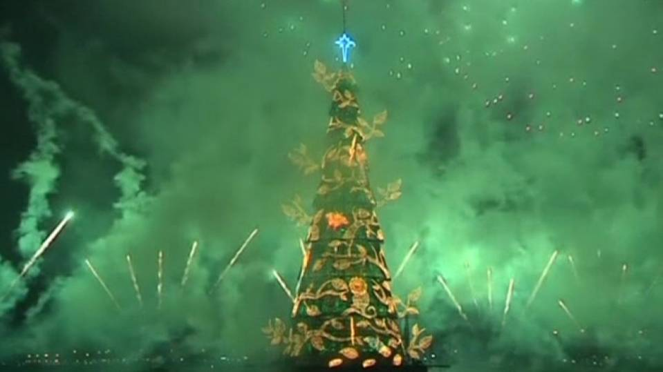 Brazil's floating Christmas tree lights up