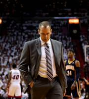 MIAMI, FL - MAY 26: Frank Vogel of the Indiana Pacers looks on against the Miami Heat during Game Four of the Eastern Conference Finals of the 2014 NBA Playoffs at American Airlines Arena on May 26, 2014 in Miami, Florida. (Photo by Mike Ehrmann/Getty Images)