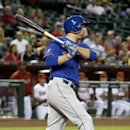 New York Mets' Lucas Duda connects for an RBI single against the Arizona Diamondbacks during the third inning of a baseball game on Monday, April 14, 2014, in Phoenix The Associated Press