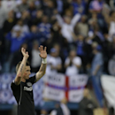 Chelsea's Fernando Torres, applauds the fans following the end of the Champions League semifinal first leg soccer match between Atletico Madrid and Chelsea at the Vicente Calderon stadium in Madrid, Spain, Tuesday, April 22, 2014