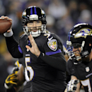 Baltimore Ravens quarterback Joe Flacco (5) throws to a receiver in the first half of an NFL football game against the Pittsburgh Steelers, Thursday, Nov. 28, 2013, in Baltimore The Associated Press