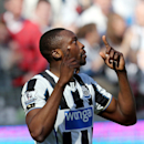 Newcastle United's Shola Ameobi celebrates his goal during their English Premier League soccer match against Swansea City at St James' Park, Newcastle, England, Saturday, April 19, 2014