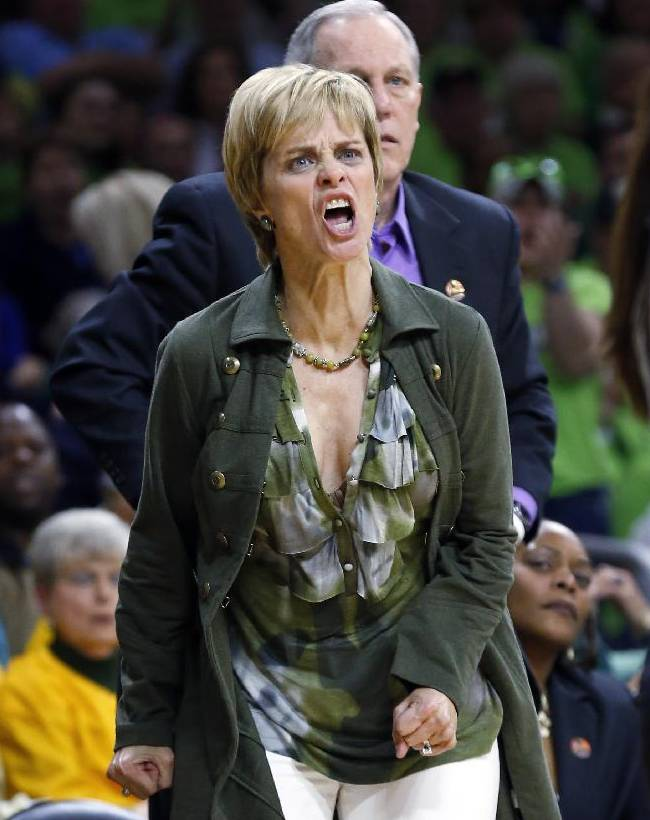 Baylor head coach Kim Mulkey yells at a referee  in the first half of their NCAA women's college basketball tournament regional final game against Notre Dame at the Purcell Pavilion in South Bend, Ind., Monday, March 31, 2014
