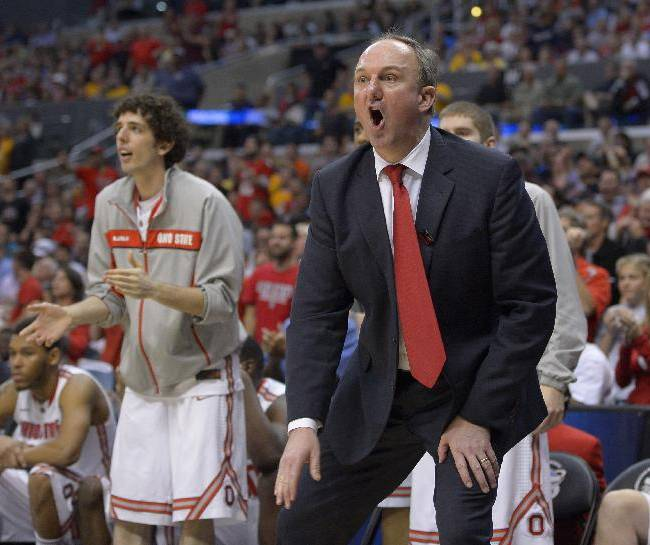 In this March 30, 2013 file photo, Ohio State coach Thad Matta reacts during the second half of the West Regional final against Wichita State in the NCAA mens college basketball tournament in Los Angeles. For a change, Matta doesn't have to introduce a bunch of newcomers to college-level hoops this fall. Led by Aaron Craft and Lenzelle Smith Jr., Ohio State has a veteran crew that includes two seniors and seven juniors from a 29-win squad that came within a whisper of its second straight trip to the Final Four