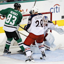 Dallas Stars right wing Ales Hemsky (83) of the Czech Republic pressures the net as Columbus Blue Jackets' Cody Goloubef (29) helps goalie Sergei Bobrovsky (72) of Russia defend against a loose puck in the third period of an NHL hockey game, Tuesday, Jan.