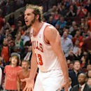Chicago Bulls center Joakim Noah (13) reacts to his fifth foul during Game 2 in an opening-round NBA basketball playoff series Tuesday, April 22, 2014, in Chicago. The Wizards won 101-99 The Associated Press