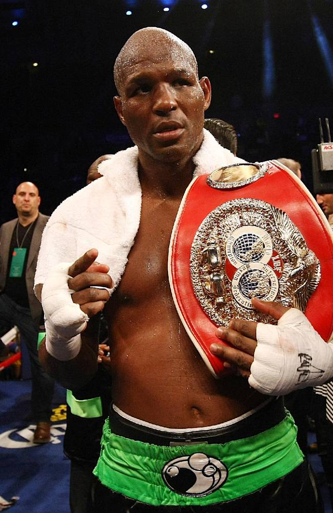 Bernard Hopkins of Philadelphia, Penn. poses with his belt after beating Karo Murat of Germany by unanimous decision after twelve rounds of IBF Light Heavyweight Title in Atlantic City, N.J. on Saturday, Oct. 26, 2013. Hopkins won by unanimous decision after 12 rounds