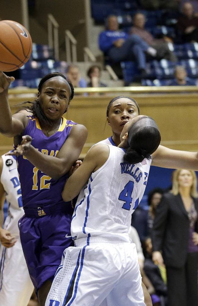 Duke's Chloe Wells (4) and Kendall McCravey-Cooper, rear, pressure Albany's Imani Tate (12) during the second half of an NCAA college basketball game in Durham, N.C., Thursday, Dec. 19, 2013. Duke won 80-51