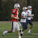 New England Patriots quarterback Jimmy Garoppolo (10) warms up during practice Wednesday, Jan. 28, 2015, in Tempe, Ariz. The Patriots play the Seattle Seahawks in NFL football Super Bowl XLIX Sunday, Feb. 1, in Glendale, Ariz The Associated Press